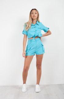 Turquoise Cargo Shorts and Shirt Set