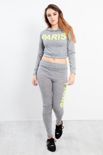 Neon Yellow Paris Slogan Hooded Tracksuit