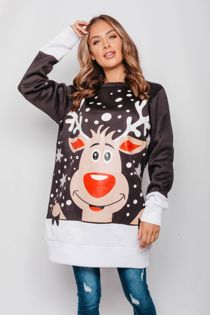Black Plus Size Naughty Rudolph Christmas Jumper Dress Pre Order