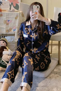 Navy Circle Flower Print Long Sleeve Satin PJ Set