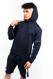 Navy Contrast Zip Piped Hoodie And Short Set
