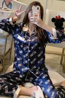 Navy Logo Print Long Sleeve Satin PJ Set