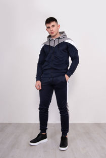 Navy With Silver Chevron Stripe Poly Tracksuit Pre Order