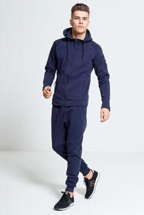 Navy Zip Through Skinny Fit Hood Tracksuit