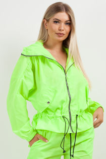 Neon Lime Hooded Festival Jacket