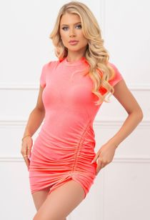 Hot Pink Ruched Drawstring Bodycon Dress