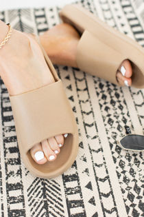 Nude Chunky Rubber Slider Sandals