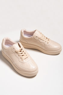 Nude Lace Up Flatform Trainers