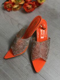 Orange Diamante Pointed Toe Heels