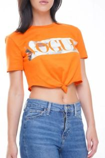 Orange Vogue Tie Crop T-Shirt