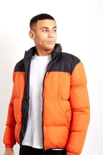 Orange With Black Contrast Panel Padded Jacket