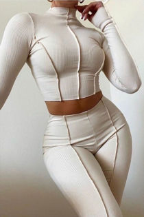 Overlock Stitch Detail Ribbed Long Sleeve Top And Leggings Set