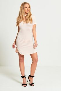 Peach Choker Neck Curved Mini Dress