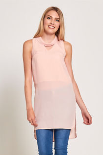 Peach Choker Neck Longline Top