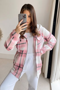 Pink Check Shacket With Hood
