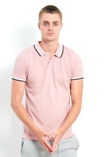 Pink Double Contrast Textured Polo T-Shirt