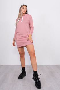 Pink Hooded Sweatshirt Dress