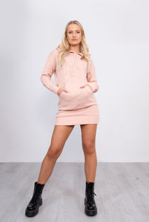 Pink Knitted Hoodie Dress