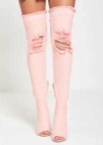 Pink Over Knee Ripped Denim Heels
