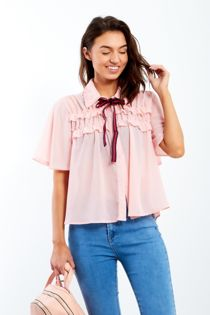 Pink Short Sleeve Frill Blouse With Bow