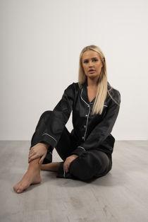 Black Piping Detail Long Sleeve Satin PJ Set