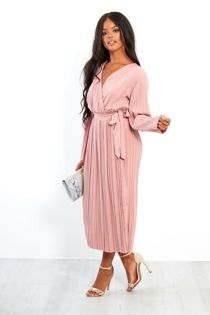Pleated Cross Over Belted Dress