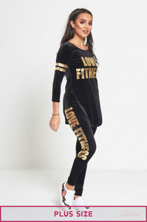 Plus Size Black Love Fitness Suede Tracksuit