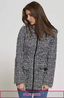 Plus Size Checked Black Rain Coat