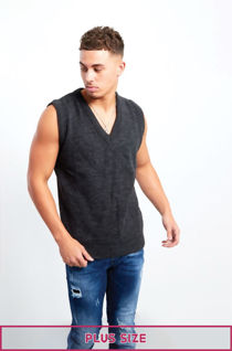 Plus Size Dark Grey V-Neck Sleeveless Knitted Jumper
