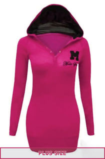 Plus Size Fuchsia Hooded Plain Cotton Jumper Top