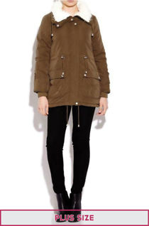 Plus Size Khaki Faux Fur Parka Coat