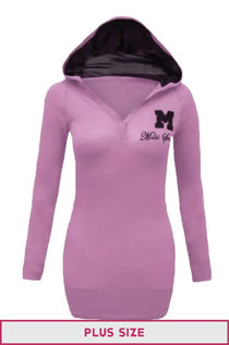 Plus Size Pink Hooded Plain Cotton Jumper Top