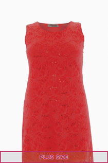 Plus Size Red Sleeveless Lace Sequin Evening Swing Dress