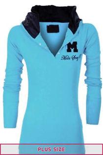 Plus Size Turq Hooded Plain Cotton Jumper Top