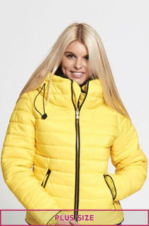 Plus Size Yellow Quilted Padded Bubble Puffer Fur Collar Jacket