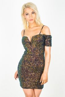 Premium Sequin V Bar Cup Detail Bodycon Dress