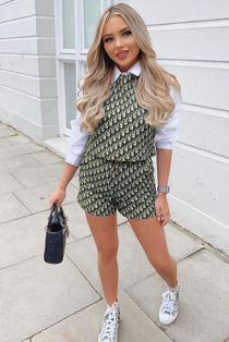 Beige Printed Crop Top And Shorts Co-Ord