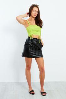 Pu Leather Elasticated Frill Waist Mini Skirt