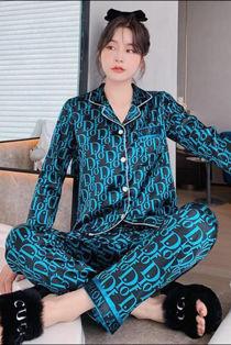 Blue D Printed Long Sleeve Satin Pyjamas