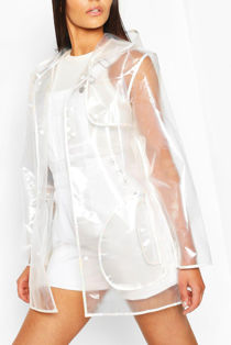 Pearl Trim Transparent Rain Mac