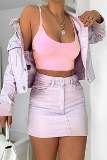Pink Double Layer Slinky Bralet