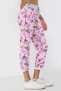 Pink With White Floral Print Trouser