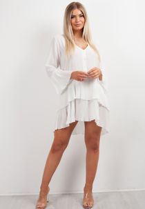 Pleated Smock Hem Dress