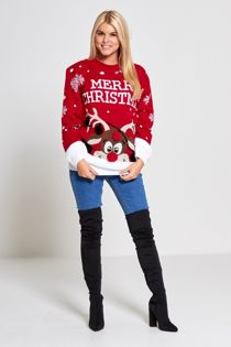 Plus Size Red Merry Christmas Reindeer Knitted Jumper