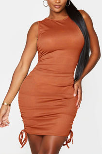 Plus Size Rust Ribbed Side Ruched Bodycon Dress