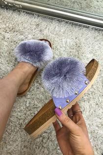 Purple Pom Tassel Strap Faux Suede Studded Slider