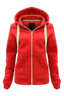 Red Basic Hooded Jacket