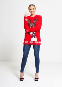 Red Cold Reindeer Snowflake Knitted Christmas Jumper