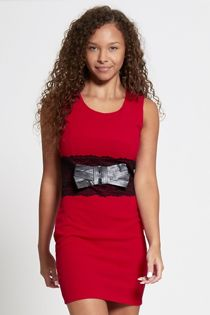 Red Lace Trim Bow Front Bodycon Mini Dress