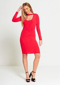 Red Plain Choker Neck Mini Dress